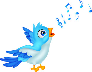 Cartoon Blue Bird Sing