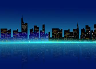 Night city sky line