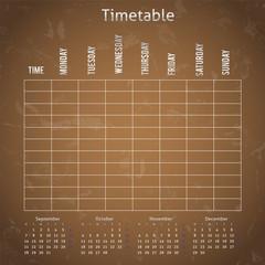 Timetable on the brown blackboard