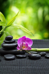 Fotobehang - purple orchid with tower black stones , bamboo on black mat