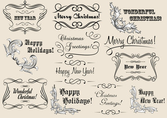 Christmas and New Year calligraphic headlines