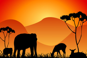 safari - silhouettes of wild animals in twilight