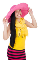 Woman wearing panama ready for summer vacation
