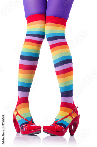 1e46dc889bb05 Colourful striped stockings isolated on white