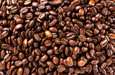 Closeup of coffee beans. Coffee background or texture concept.