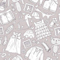 Cute patter with toys and clothes for children