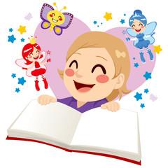 Cute Girl Reading Fairy Tale
