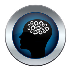button with the image of a head with a mechanism