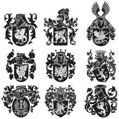 set of heraldic silhouettes No2