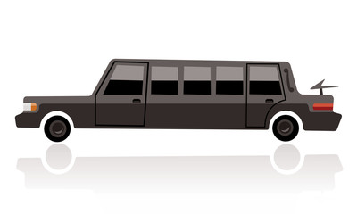 black limo, funny cartoon style