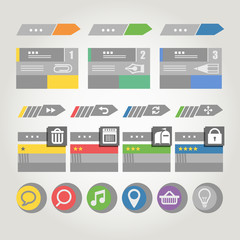 Interface bars template with icons