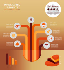 Fall season infographic tree elements Autumn graphic EPS10 file.