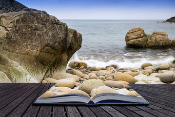 Creative concept pages of book Beautiful landscape of Porth Nanv