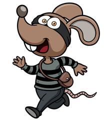 Vector illustration of Cartoon Rat thief running