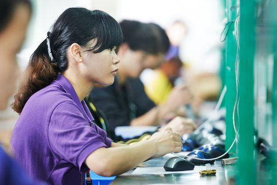 female chinese worker in factory