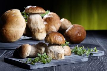 funghi freschi boletus su tavolo grigio sfondo verde