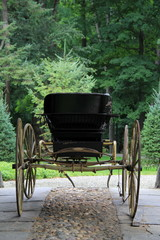 Old buggy with wood-spoke wheels