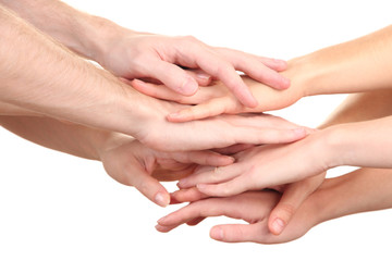 United hands isolated on white Conceptual photo of teamwork