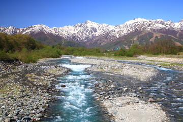Japan Alps and river view from Hakuba village