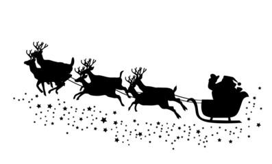 vector Santa Claus flying with deer