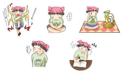 Piggy boy cartoon icon in various action set 4