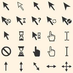 vector set of 25 cursors