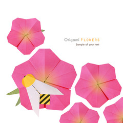 Origami pink flower