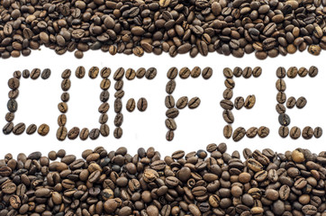 coffee text made of coffee bean