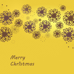 Christmas decorative card with snowflakes on yellow background