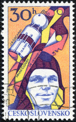 stamp printed in Czechoslovakia, shows Yuri Gagarin