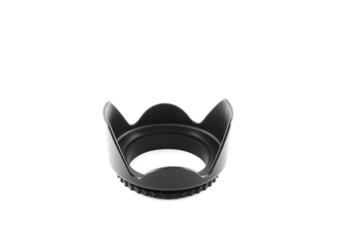 black lens hood on the white background
