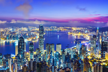 Deurstickers Hong-Kong Hong Kong city skyline during sunrise