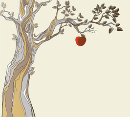 Original sin. Tree with apple.