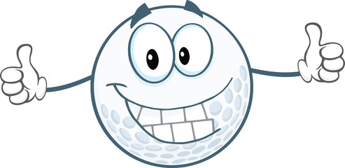 Smiling Golf Ball Cartoon Character Giving A Thumbs Up