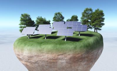 Solar panels on top of a terrain
