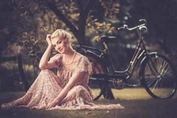 Elegant retro woman in summer dress