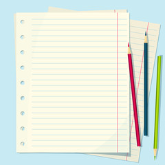 Vector set of lined paper and colored pencils