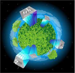 Green planet. Vector.
