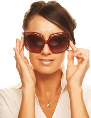 beautiful fashion woman wearing sunglasses
