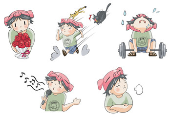Piggy boy cartoon icon in various action set 7