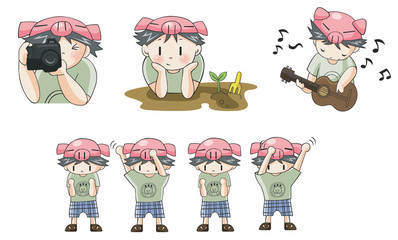 Piggy boy cartoon icon in various action set 8