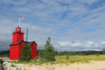 Canvas Print - Big Red Lighthouse in Holland Michigan