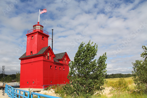 Canvas Prints Big Red Lighthouse in Holland Michigan