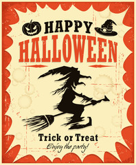Vintage Halloween witch poster design