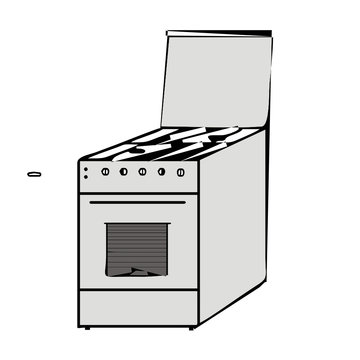 vector drawing of a gas stove