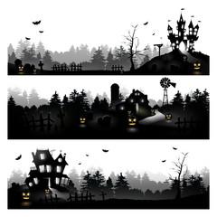 Set of three Halloween silhouettes