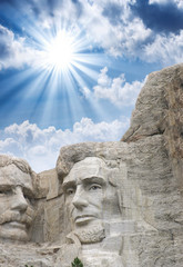 Fototapete - Mount Rushmore - Roosevelt and Lincoln sculpture