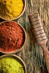 Matcha, chilli and curry spices