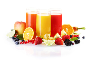 Fresh fruit with glasses of juice