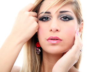 Foto op Plexiglas Beauty Sensual blonde girl with pink dress portrait